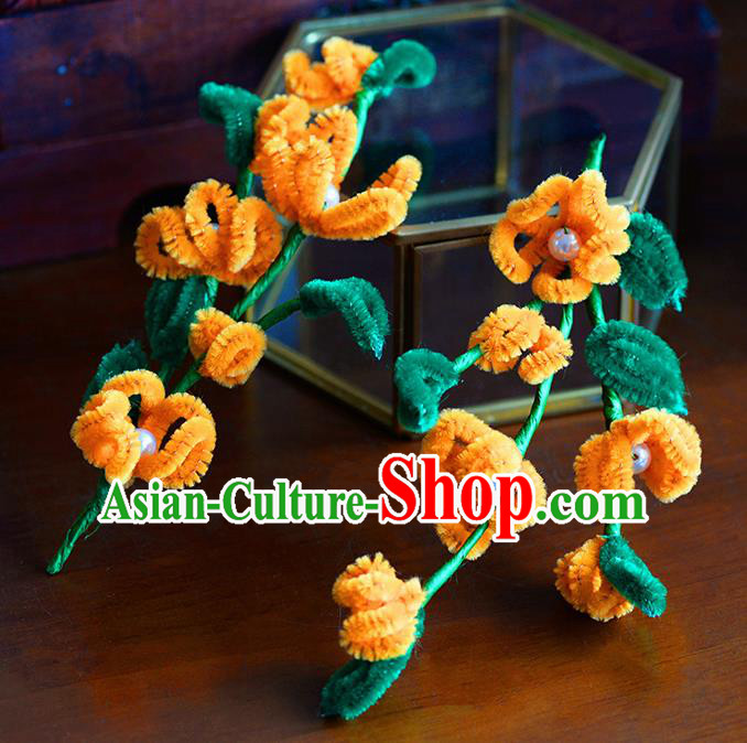 Traditional Chinese Ancient Palace Orange Velvet Flowers Hair Clip Hairpins Handmade Wedding Hair Accessories for Women