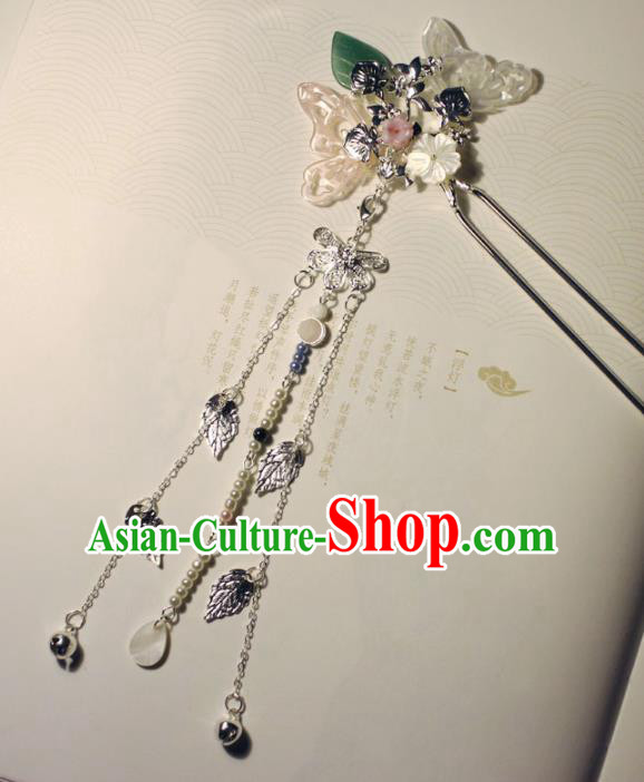 Traditional Chinese Ancient Hanfu Butterfly Tassel Hair Clip Princess Hairpins Handmade Hair Accessories for Women