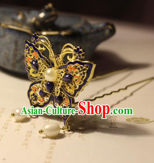 Traditional Chinese Ancient Hanfu Blueing Butterfly Tassel Hair Clip Princess Hairpins Handmade Hair Accessories for Women