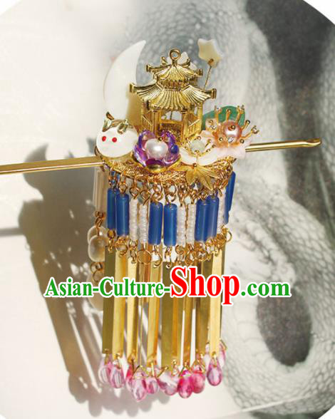 Chinese Ancient Hanfu Tassel Hair Clip Princess Palace Hairpins Traditional Handmade Hair Accessories for Women
