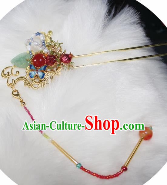 Chinese Ancient Hanfu Pomegranate Hair Clip Princess Tassel Hairpins Traditional Handmade Hair Accessories for Women