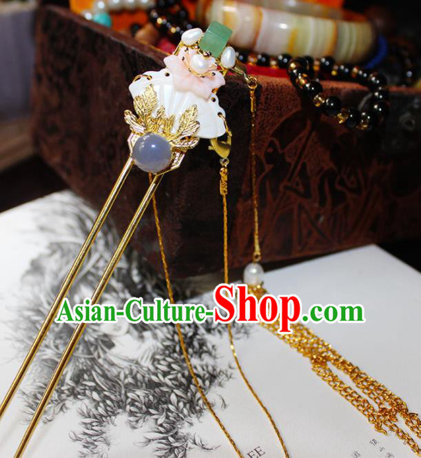 Chinese Ancient Hanfu Purple Chalcedony Hair Clip Princess Tassel Hairpins Traditional Handmade Hair Accessories for Women
