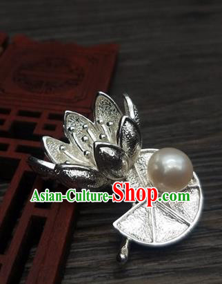 Traditional Chinese Ancient Palace Lotus Brooch Handmade Hanfu Breastpin Pendant for Women