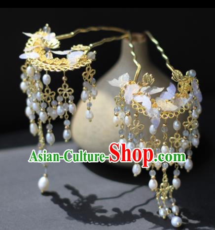 Traditional Chinese Ancient Tassel Hair Clips Hairpins Handmade Hanfu Hair Accessories for Women