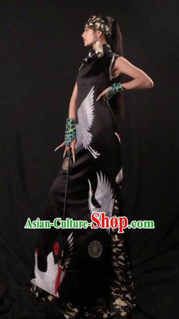Chinese National Printing Cranes Black Cheongsam Costume Traditional Tang Suit Qipao Dress for Women