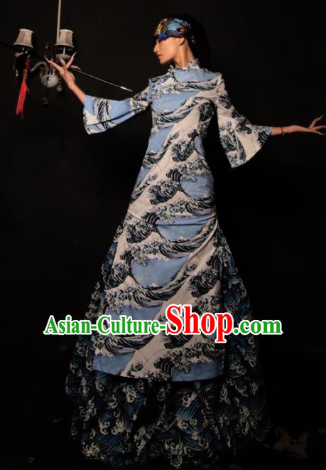 Chinese National Blue Cheongsam Costume Traditional Tang Suit Qipao Dress for Women