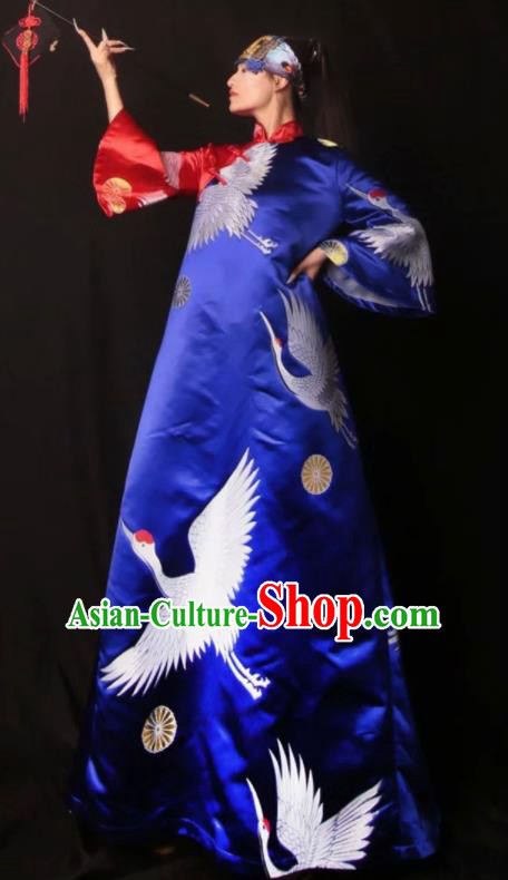 Chinese Traditional Catwalks Costume National Printing Cranes Royalblue Brocade Cheongsam Tang Suit Qipao Dress for Women
