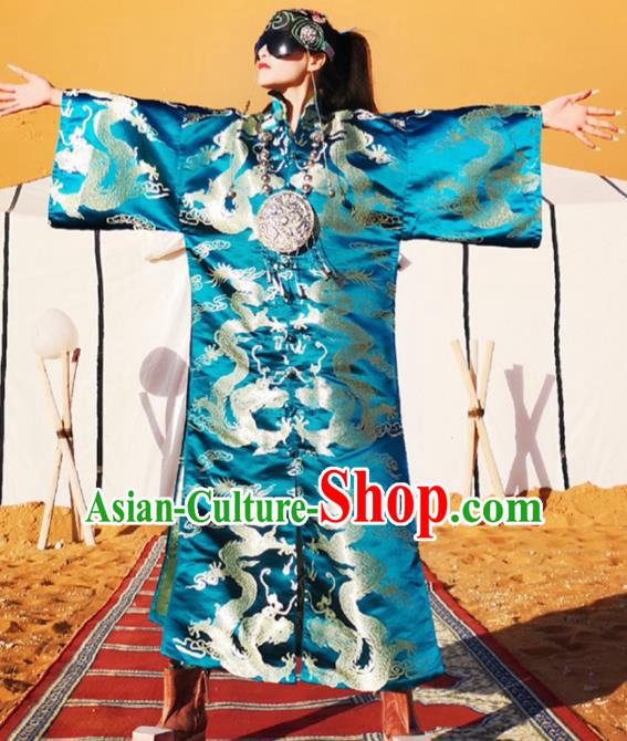 Chinese Traditional Catwalks Costume National Blue Brocade Dragon Robe Cheongsam Tang Suit Qipao Dress for Women
