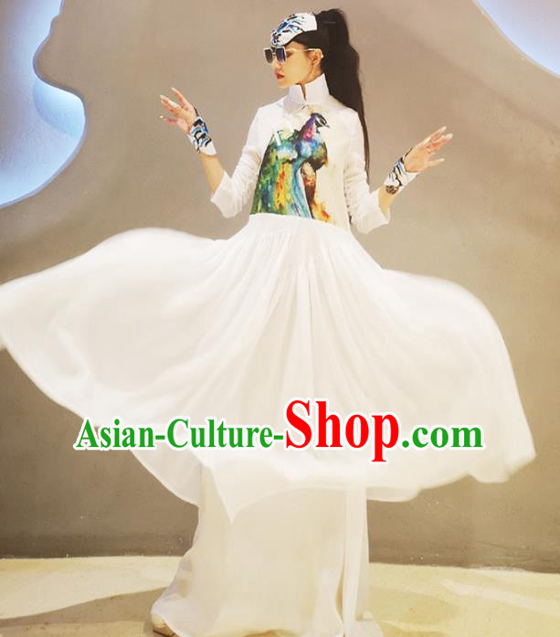 Chinese Traditional Catwalks Costume National Printing White Cheongsam Tang Suit Qipao Dress for Women