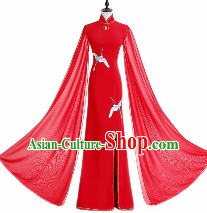 Chinese National Catwalks Costume Red Cheongsam Traditional Tang Suit Qipao Dress for Women