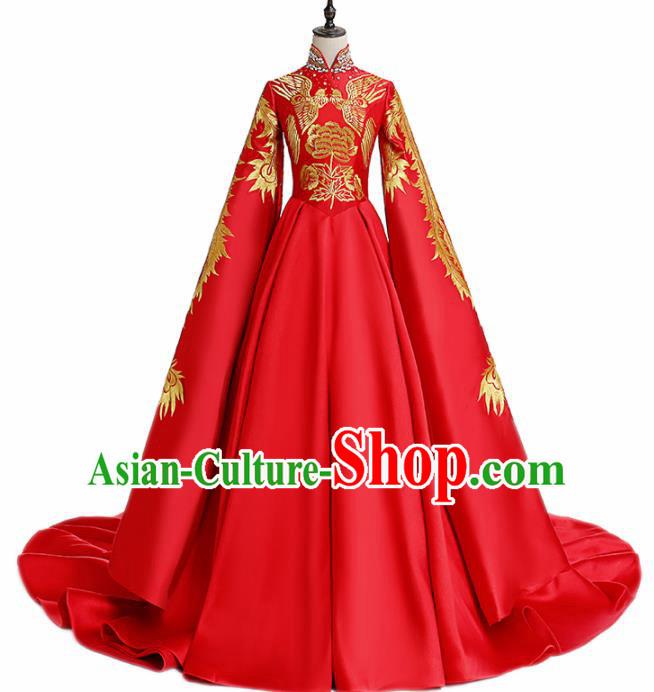 Chinese National Catwalks Wedding Embroidered Red Full Dress Traditional Tang Suit Cheongsam for Women