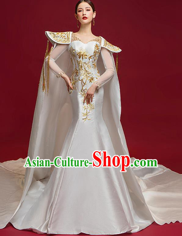 Chinese National Catwalks Embroidered White Trailing Full Dress Traditional Compere Cheongsam for Women