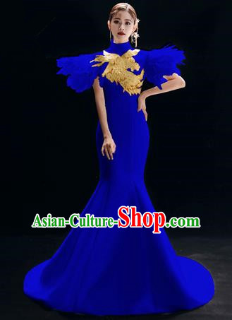 Chinese National Catwalks Embroidered Royalblue Cheongsam Traditional Costume Tang Suit Qipao Dress for Women