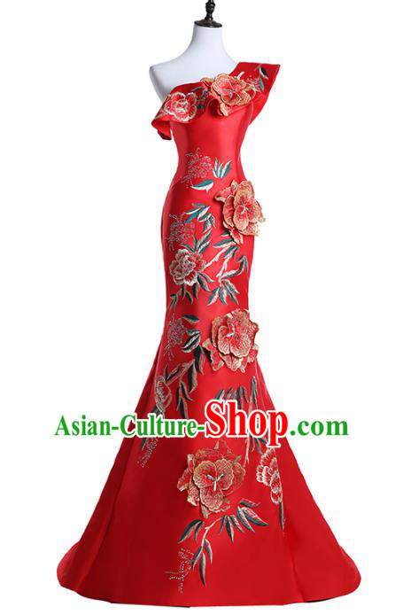 Chinese National Catwalks Costume Embroidered Peony Red Cheongsam Traditional Tang Suit Qipao Dress for Women