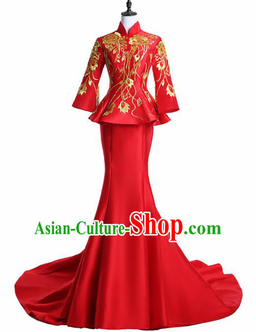 Chinese National Catwalks Costume Embroidered Red Trailing Cheongsam Traditional Tang Suit Qipao Dress for Women
