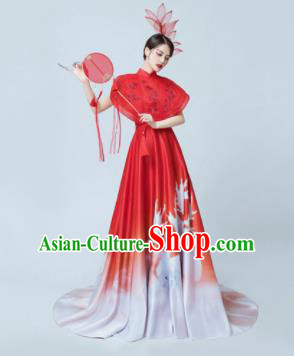 Chinese National Catwalks Printing Red Mullet Cheongsam Traditional Costume Tang Suit Silk Qipao Dress for Women
