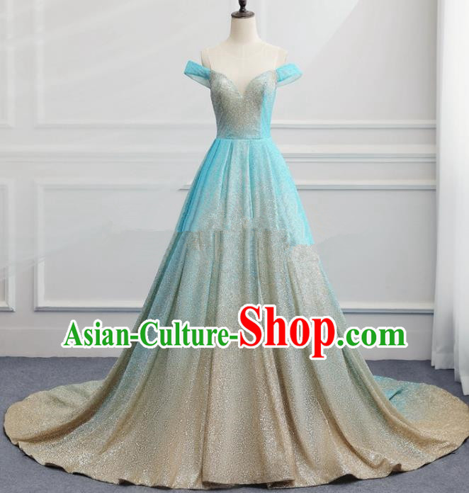 Top Grade Catwalks Compere Trailing Blue Full Dress Chorus Modern Dance Party Costume for Women