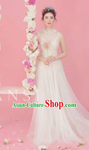 Top Grade Chorus Compere Costume Wedding Modern Dance Party Catwalks White Veil Full Dress for Women
