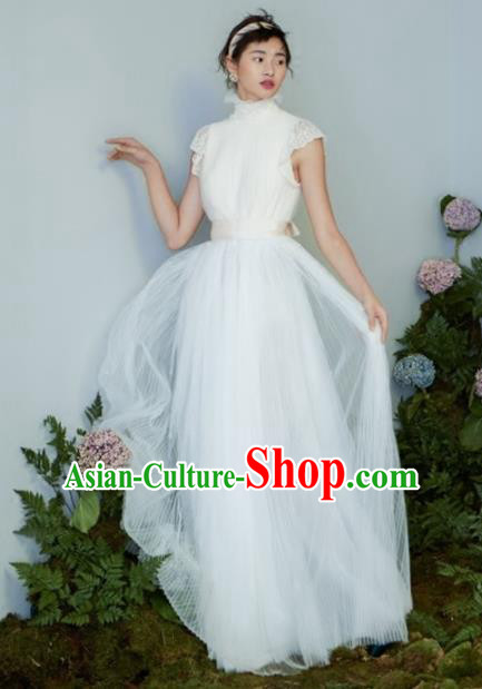 Top Grade Chorus Compere Costume Modern Dance Party Catwalks White Veil Full Dress for Women