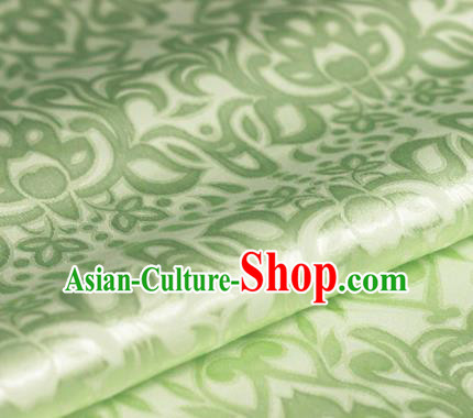 Asian Chinese Traditional Royal Lotus Pattern Green Brocade Cheongsam Silk Fabric Chinese Satin Fabric Material