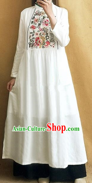 Traditional Chinese Tang Suit White Linen Cheongsam Embroidered Qipao Dress National Costume for Women