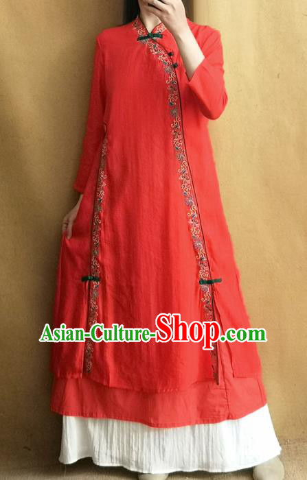 Traditional Chinese Tang Suit Embroidered Red Cheongsam Linen Qipao Dress National Costume for Women