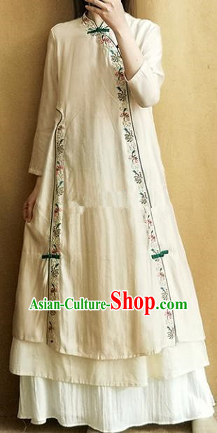 Traditional Chinese Tang Suit Embroidered Beige Cheongsam Linen Qipao Dress National Costume for Women