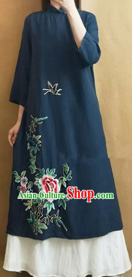 Traditional Chinese Tang Suit Embroidered Peony Navy Cheongsam Qipao Dress National Costume for Women