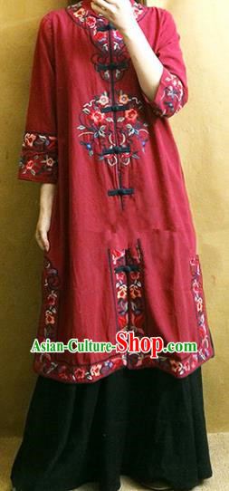 Traditional Chinese Embroidered Flowers Red Long Coat Tang Suit Outer Garment National Costume for Women