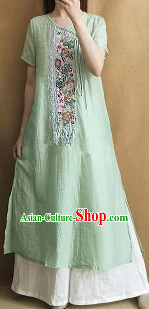 Traditional Chinese Embroidered Green Qipao Dress Tang Suit National Costume for Women