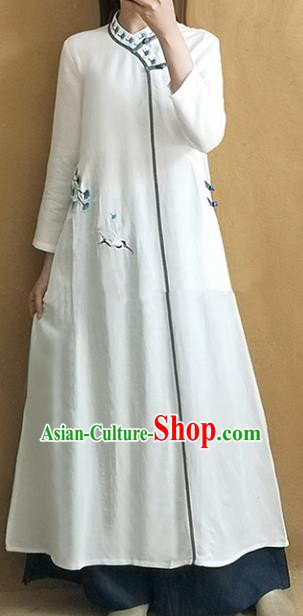 Traditional Chinese Embroidered Crane White Qipao Dress Tang Suit Cheongsam National Costume for Women