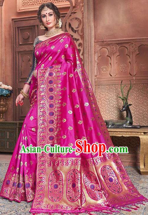 Indian Traditional Costume Asian India Embroidered Rosy Sari Dress Bollywood Court Queen Clothing for Women