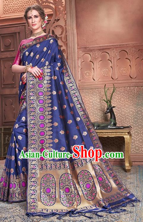 Indian Traditional Costume Asian India Embroidered Royalblue Sari Dress Bollywood Court Queen Clothing for Women