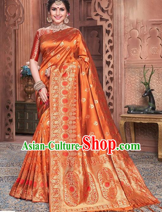 Indian Traditional Costume Asian India Embroidered Orange Sari Dress Bollywood Court Queen Clothing for Women