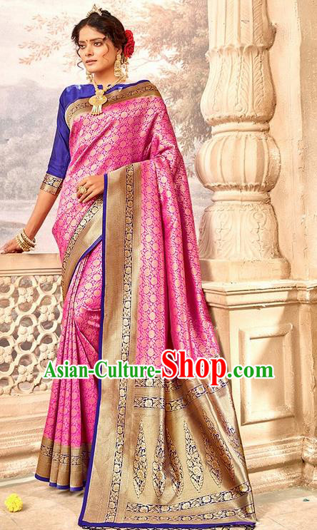 Indian Traditional Costume Asian India Rosy Brocade Sari Dress Bollywood Court Queen Clothing for Women
