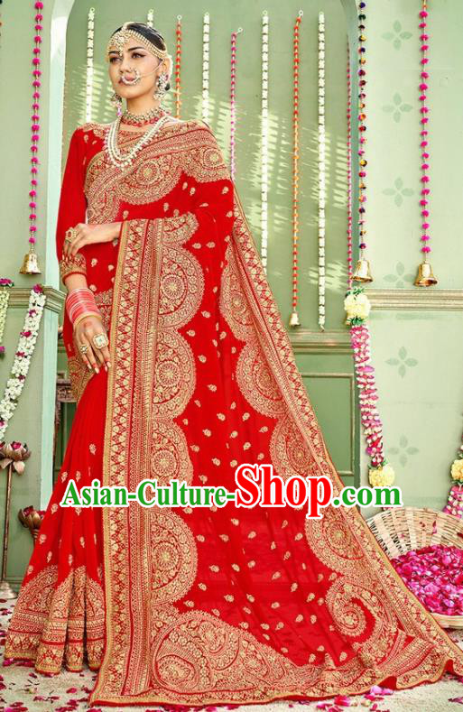 Indian Traditional Court Wedding Costume Asian India Red Sari Dress Bollywood Queen Clothing for Women