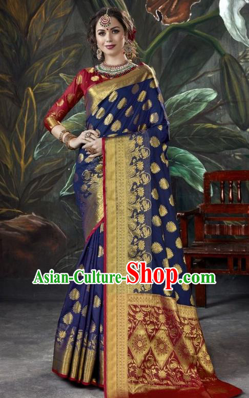 Asian India Royalblue Sari Dress Indian Traditional Court Costume Bollywood Queen Clothing for Women