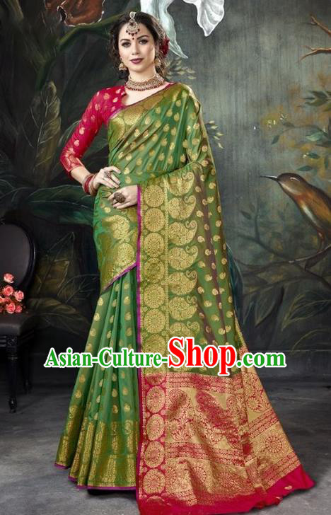 Asian India Green Sari Dress Indian Traditional Court Costume Bollywood Queen Clothing for Women
