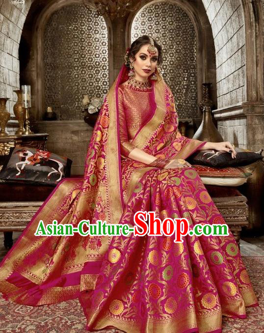 Asian India Traditional Rosy Sari Dress Indian Court Costume Bollywood Queen Clothing for Women