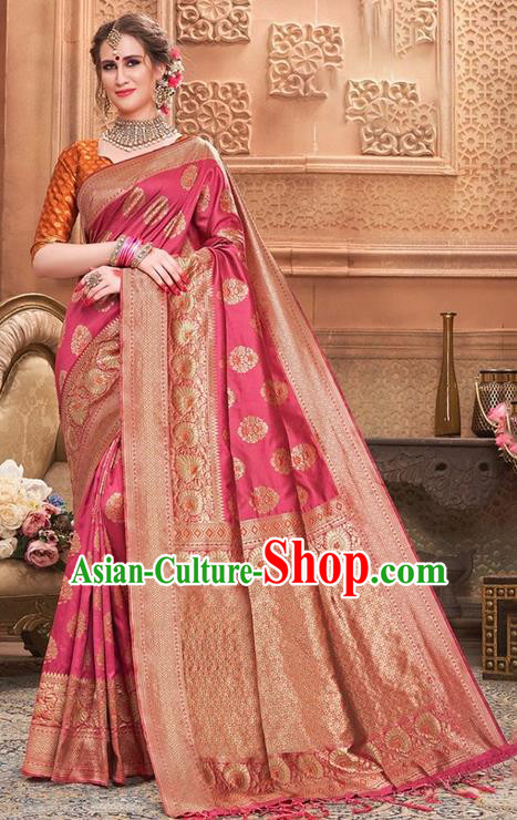 Indian Traditional Costume Asian India Rosy Sari Dress Bollywood Court Queen Clothing for Women