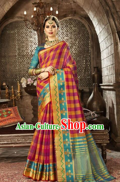 Asian India Traditional Sari Dress Indian Court Rosy Costume Bollywood Queen Clothing for Women