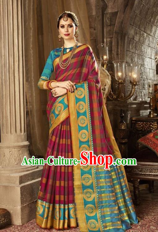 Asian India Traditional Bollywood Queen Rosy Sari Dress Indian Court Costume for Women