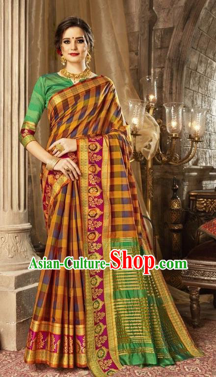 Asian India Traditional Bollywood Queen Golden Sari Dress Indian Court Costume for Women