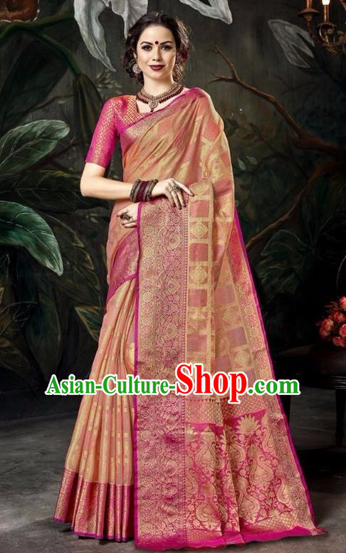 Asian India Traditional Bollywood Rosy Sari Dress Indian Court Queen Costume for Women