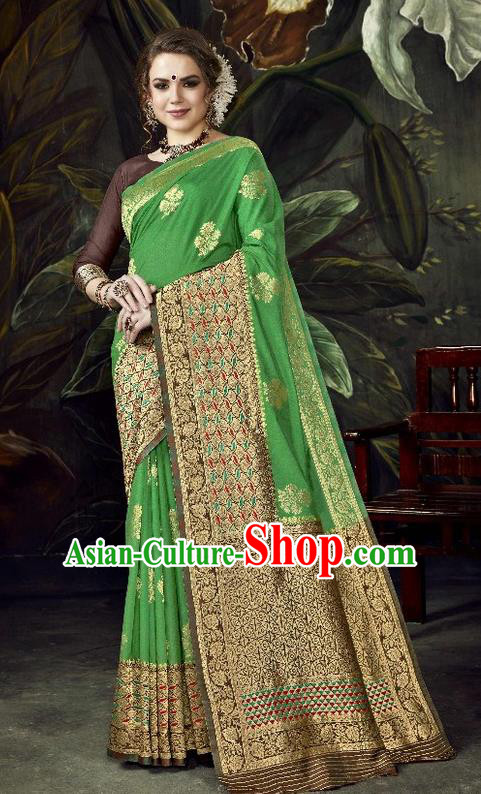 Asian India Traditional Bollywood Green Sari Dress Indian Court Queen Costume for Women
