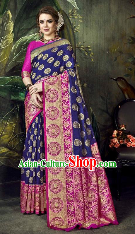 Asian India Traditional Bollywood Deep Blue Sari Dress Indian Court Queen Costume for Women