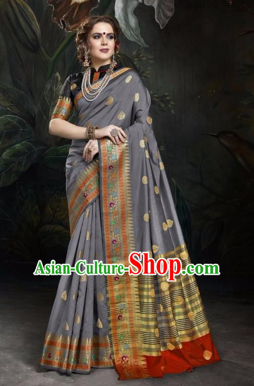 Asian India Traditional Bollywood Grey Sari Dress Indian Court Queen Costume for Women
