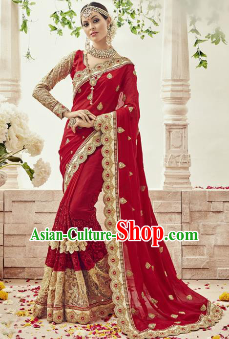 Asian India Traditional Bollywood Bride Red Sari Dress Indian Court Queen Wedding Costume for Women