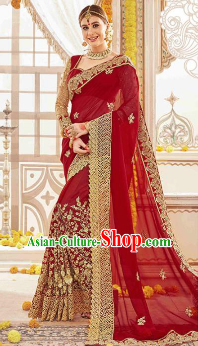 Asian India Traditional Bollywood Bride Wine Red Sari Dress Indian Court Queen Wedding Costume for Women