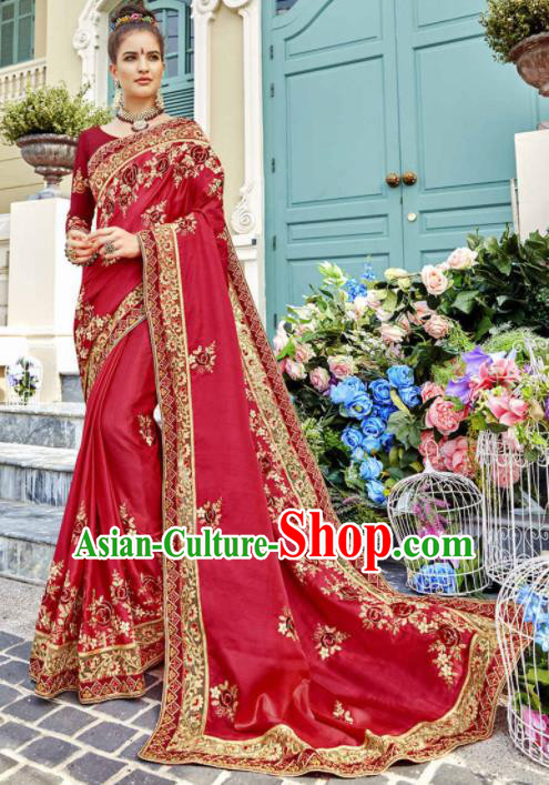 India Traditional Bollywood Rosy Sari Dress Asian Indian Court Wedding Bride Costume for Women